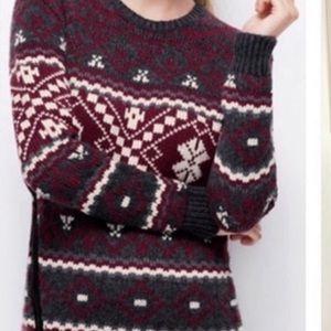 Ann Taylor Fair Isle Side Zip Maroon Sweater Tunic